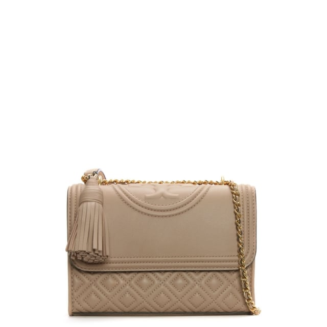 Tory Burch Fleming Small Convertible New Mink Leather Shoulder Bag