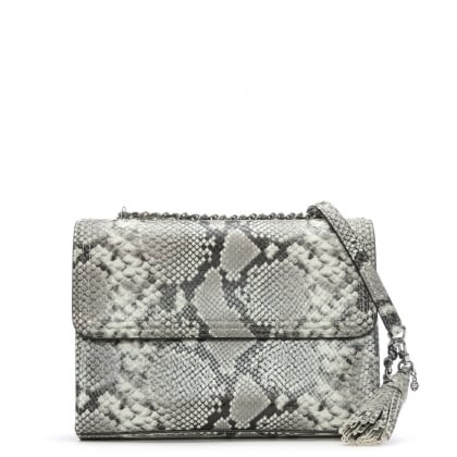 Fleming Taupe Reptile Shoulder Bag