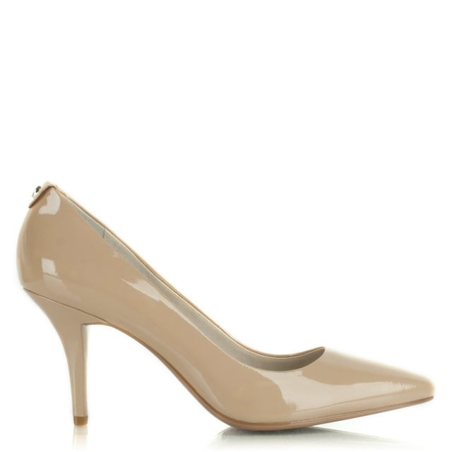 Flex Mid Nude Patent Leather Pump