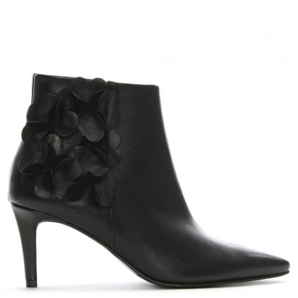 Floral Black Leather Ankle Boots