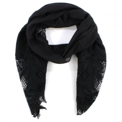 Floral Edge Black Cotton Mix Scarf