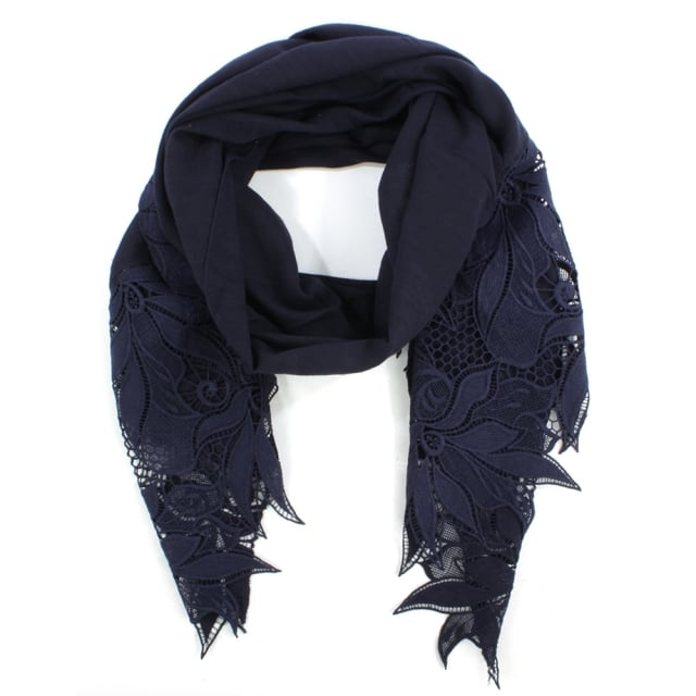 Floral Edge Blue Cotton Mix Scarf