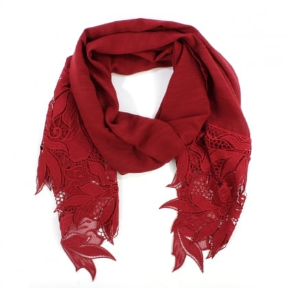 Floral Edge Burgundy Cotton Mix Scarf