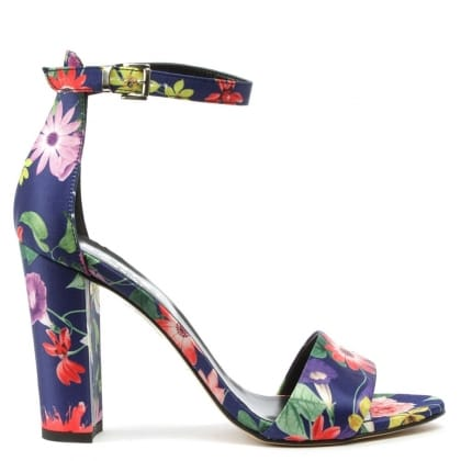 Floral Multicoloured Block Heel Ankle Strap Sandal