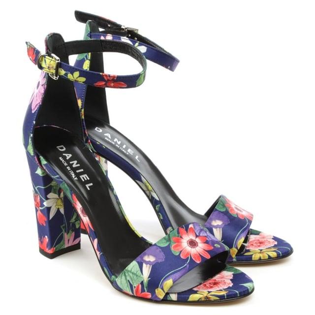 eae11e4082c Daniel Floral Multicoloured Block Heel Ankle Strap Sandal