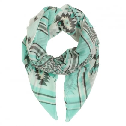Floral Striped Green Scarf