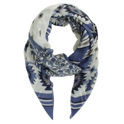 Floral Striped Navy Scarf