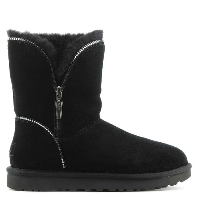 Florence Black Suede Curved Zipper Ankle Boot
