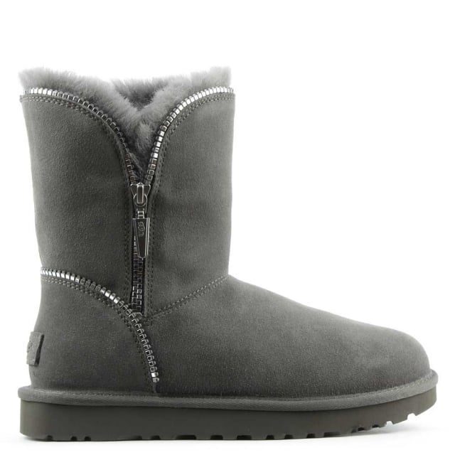 Florence Grey Suede Curved Zipper Ankle Boot