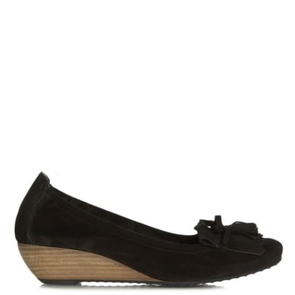 Flower Black Suede Low Wedge Shoe