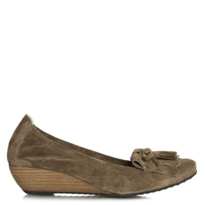 Flower Taupe Suede Low Wedge Shoe