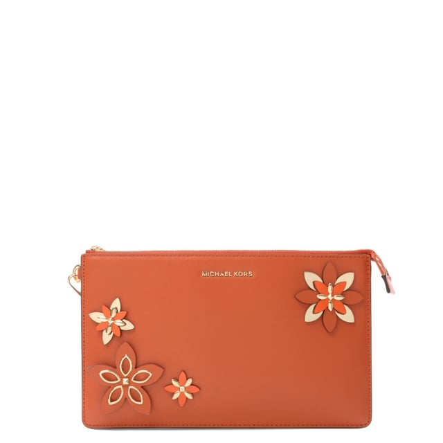 Flowers Daniela Orange Leather Wristlet Clutch