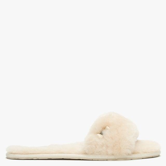 UGG Fluff Slide White Natural Sheepskin