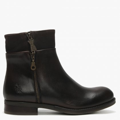 87b594a8825 Abys Dark Brown   Chocolate Leather Triple Zip Ankle Boots. Sale. Fly London  ...