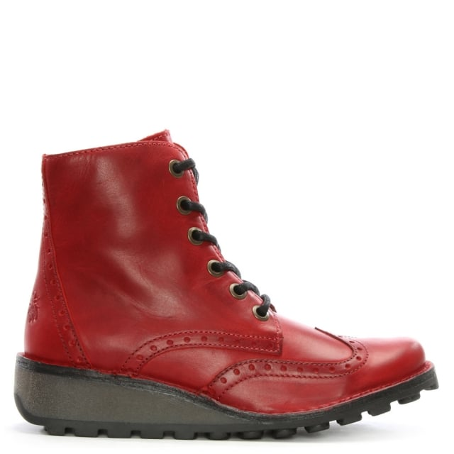 Fly London Marl Red Leather Low Wedge