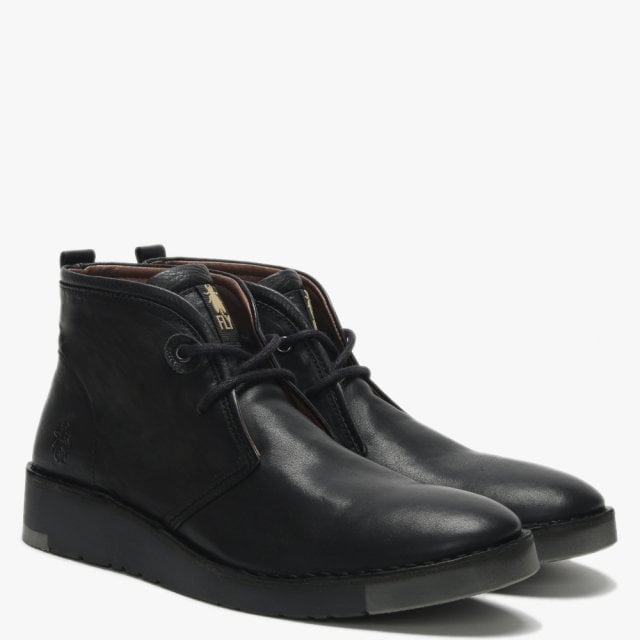 new high release info on 100% top quality Men's Sion Black Leather Desert Boots