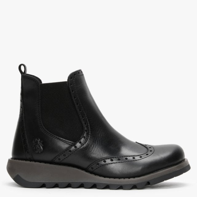Fly London Sono Black Leather Brogue