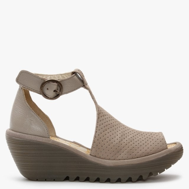 Fly London Yall Cloud Leather Perforated Wedge T-Bar Sandals