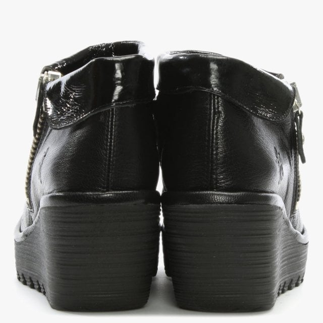 exclusive deals cheap for discount 100% authentic Fly London Yoki Black Leather Wedge Ankle Boots