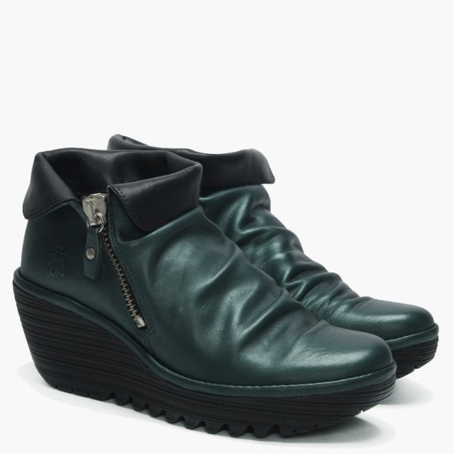 best prices brand new usa cheap sale Fly London Yoki Seaweed & Black Leather Wedge Ankle Boots