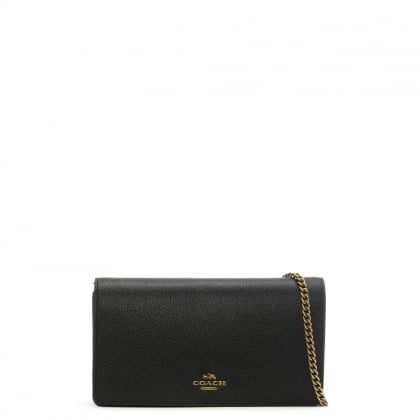 Foldover Black Pebbled Leather Cross-Body Bag