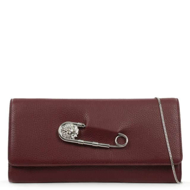Foldover Burgundy Leather Safety Pin Clutch Bag