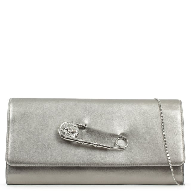 Foldover Silver Leather Safety Pin Clutch Bag