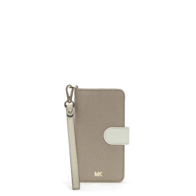 c812f9fef1025 Michael Kors Folio Oat Saffiano Leather Wristlet iPhone 7 8 Case