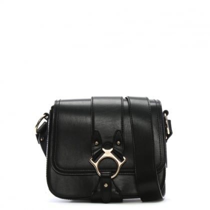 Folly Black Leather Saddle Bag