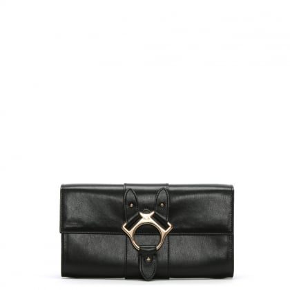 Folly Black Leather Travel Wallet