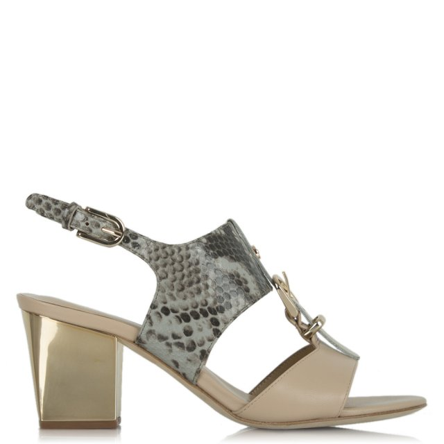 Formation Grey Leather Reptile T Bar Sandal