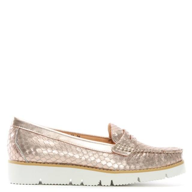 Forset Pink Leather Reptile Sporty Loafers