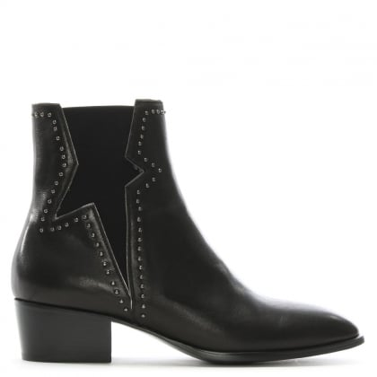 Fortitude Black Leather Studded Chelsea Boots