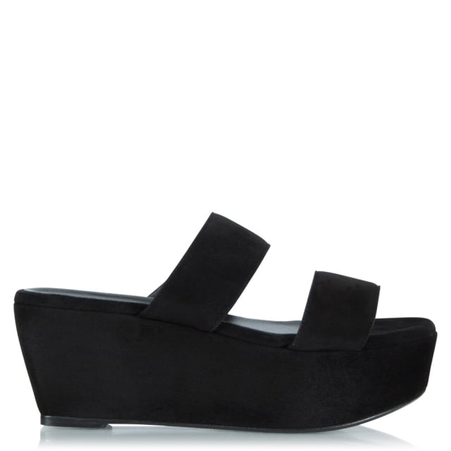 Frazziak Black Suede Wedge Sandal