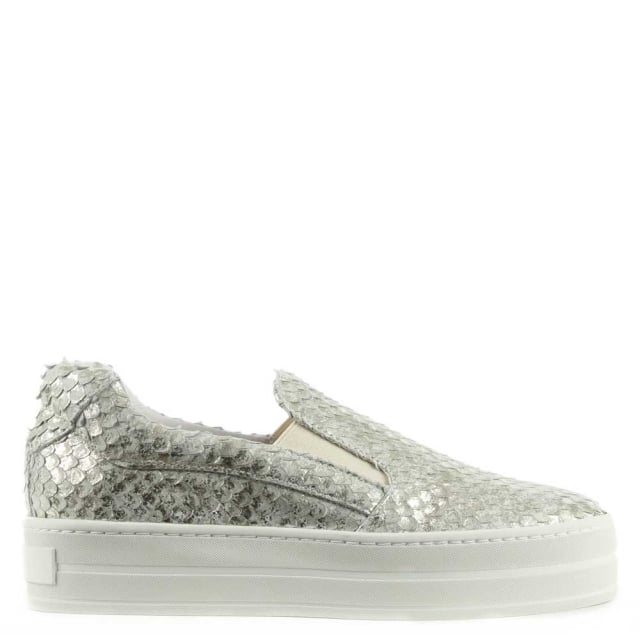 Freestone Silver Reptile Leather Flatform Trainer