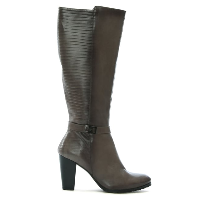 Vitti Love Frey Grey Leather Pleated Knee High Boots