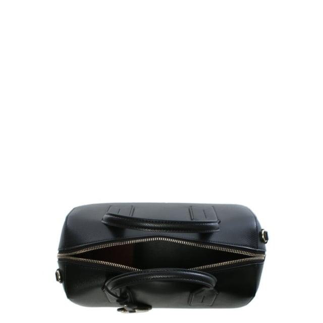 767168f2e7 Emporio Armani Frida Black Textured Top Handle Bowling Bag