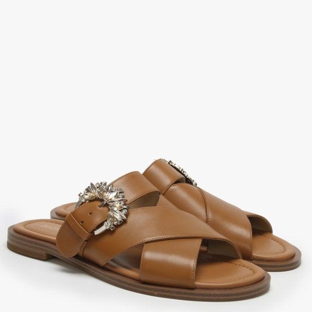81beede25c28 Michael Kors Frieda Acorn Leather Embellished Buckle Sandals