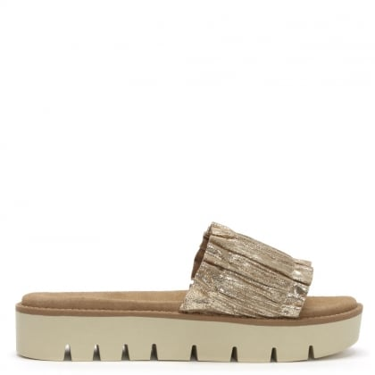 Frilla Gold Leather Cleated Flatform Sliders