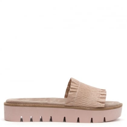 Frilla Pink Leather Cleated Flatform Sliders