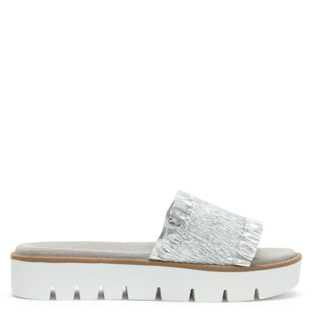 Frilla Silver Leather Cleated Flatform Sliders