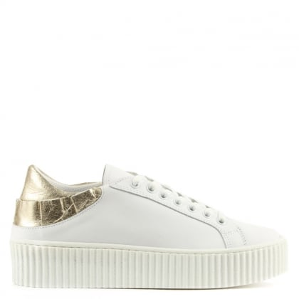 Frillsy White Leather Gold Trim Flatform Trainers