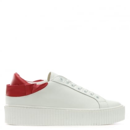 Frillsy White Leather Red Trim Flatform Trainers