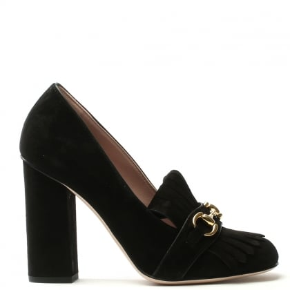 Fringes Black Suede Block Heel Court Shoe