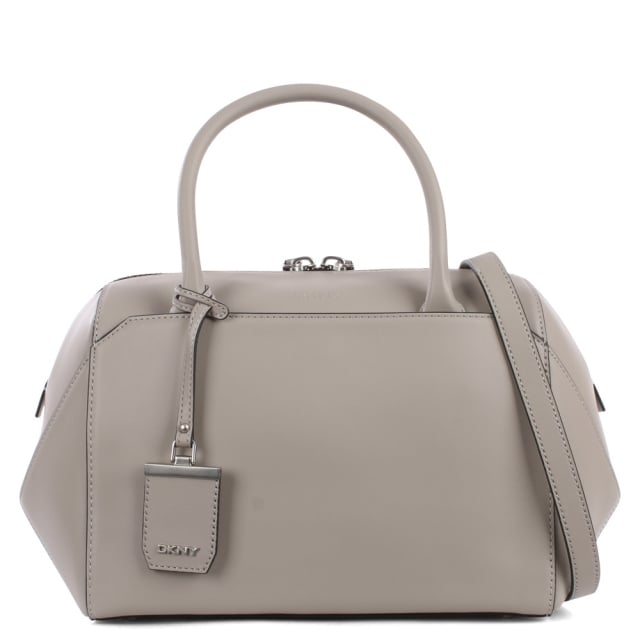 Front Pocket Grey Leather Satchel Bag