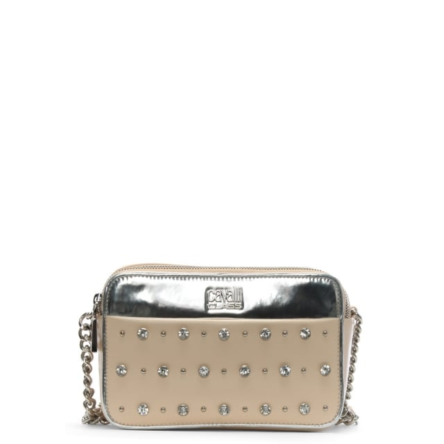 Cavalli Class Front Row Pink Leather Embellished Cross-Body Bag
