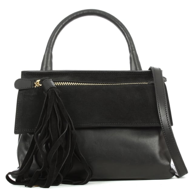 Front Zip Black Leather Contrast Crossbody
