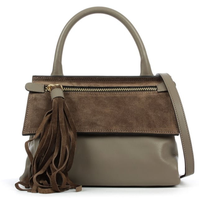 Front Zip Taupe Leather Contrast Crossbody