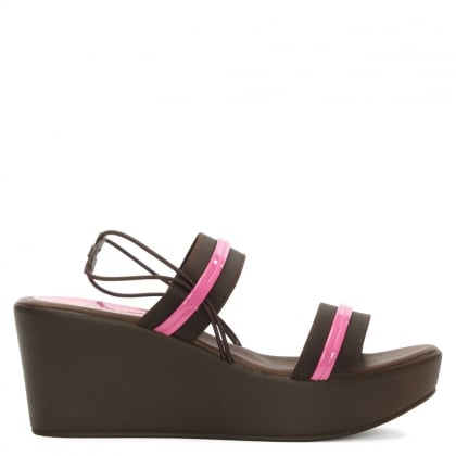 Fuchsia & Brown Elasticated Strap Wedge Sandal
