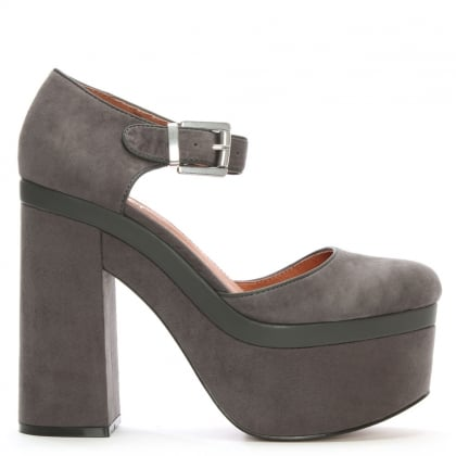 Fulham Grey Suede Chunky Platform Shoes